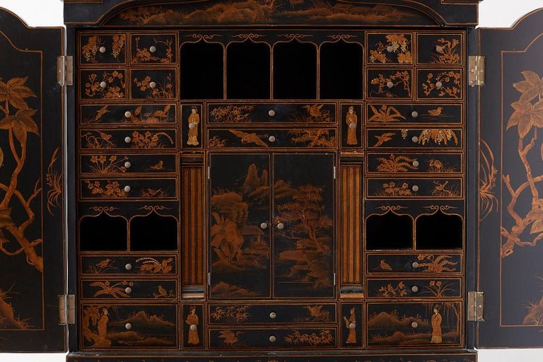 English Chinoiserie Style Lacquered Parcel-Gilt Secretary 9