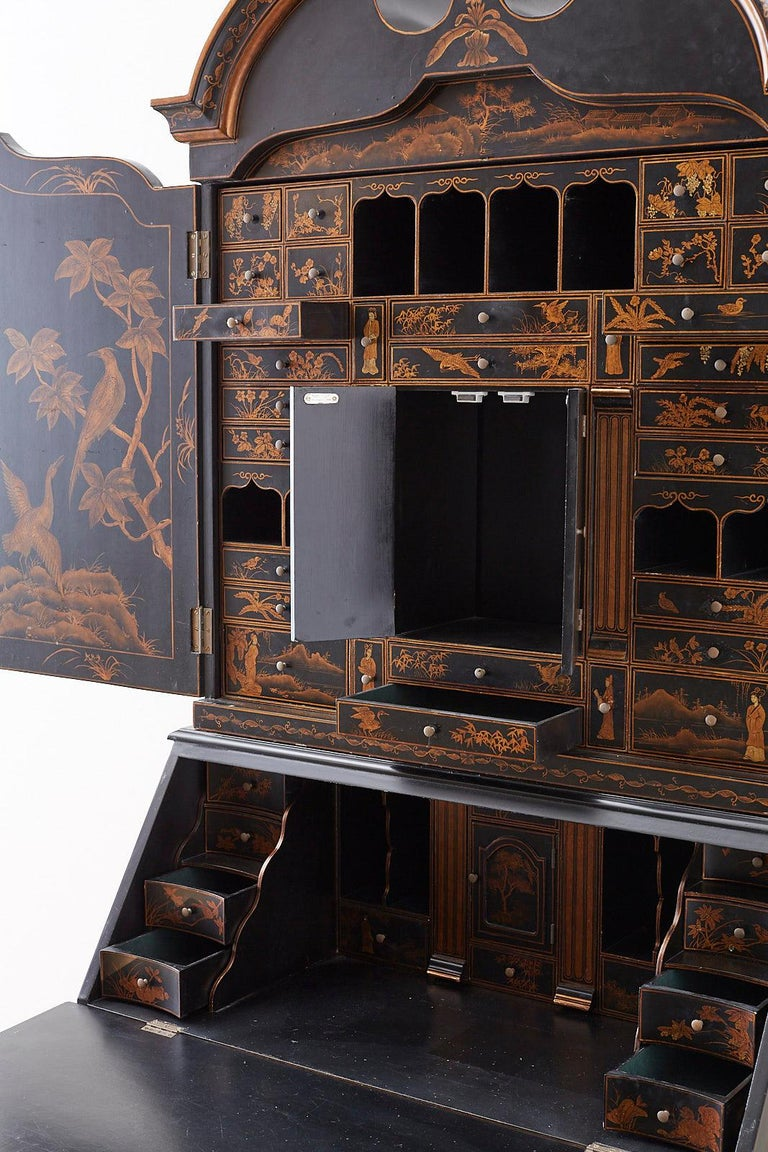 English Chinoiserie Style Lacquered Parcel-Gilt Secretary 10