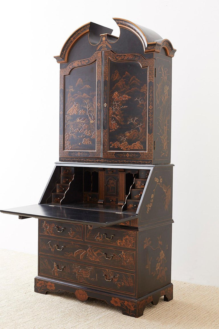 English Chinoiserie Style Lacquered Parcel-Gilt Secretary 11