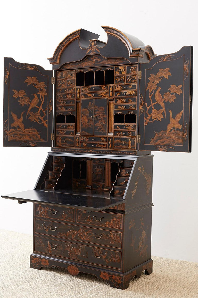 English Chinoiserie Style Lacquered Parcel-Gilt Secretary 12