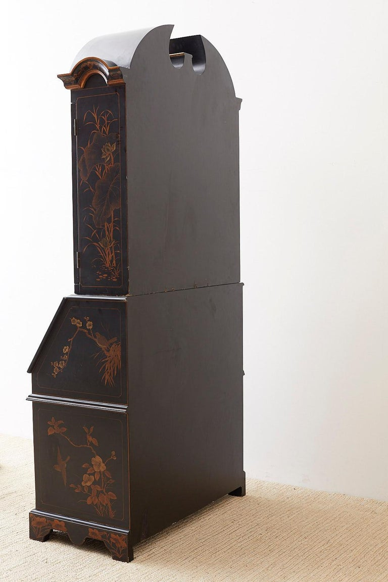 English Chinoiserie Style Lacquered Parcel-Gilt Secretary 13