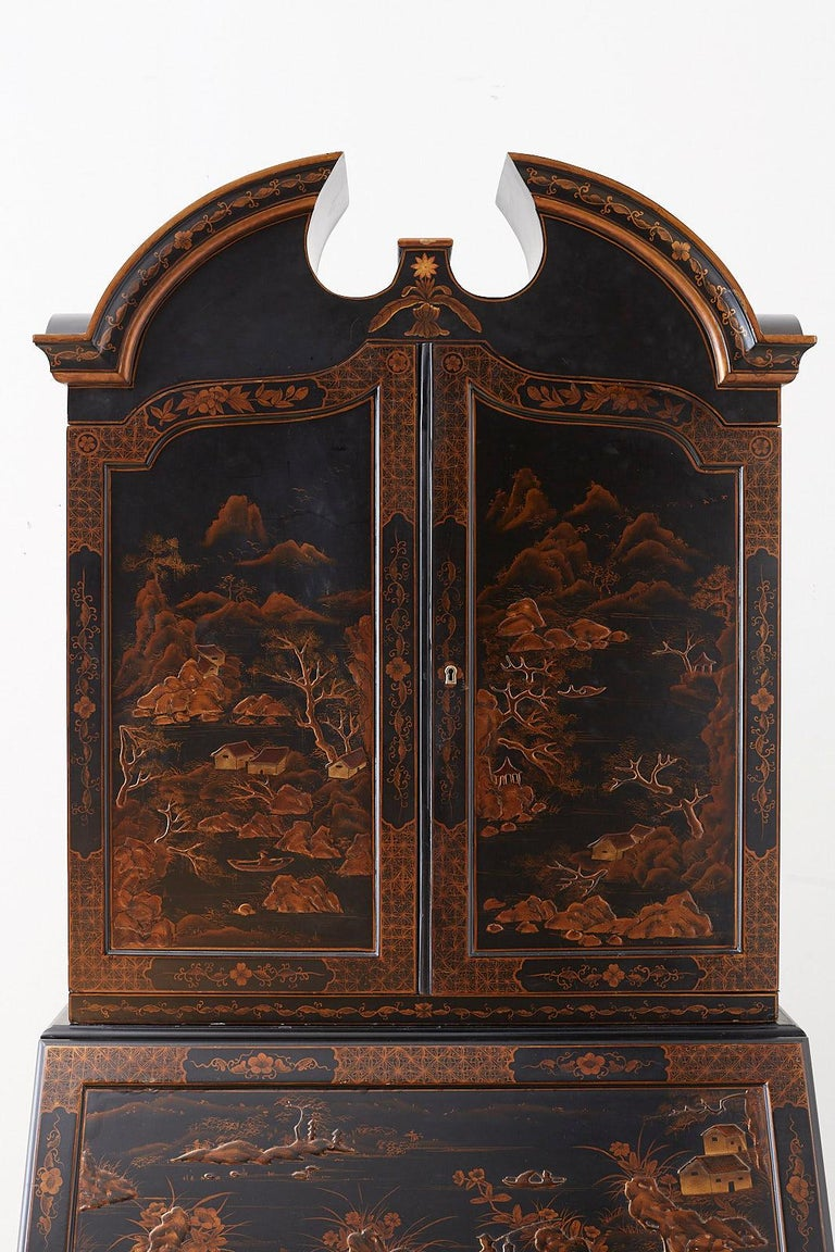 Georgian English Chinoiserie Style Lacquered Parcel-Gilt Secretary