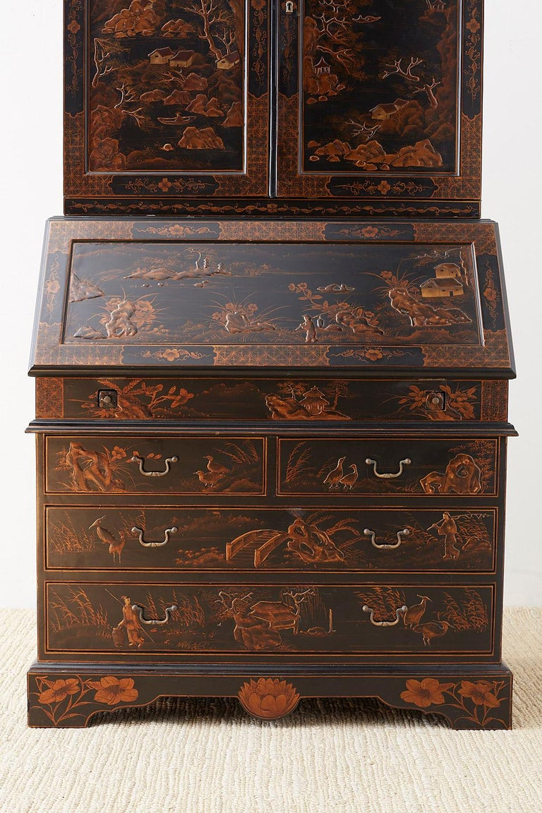 Italian English Chinoiserie Style Lacquered Parcel-Gilt Secretary