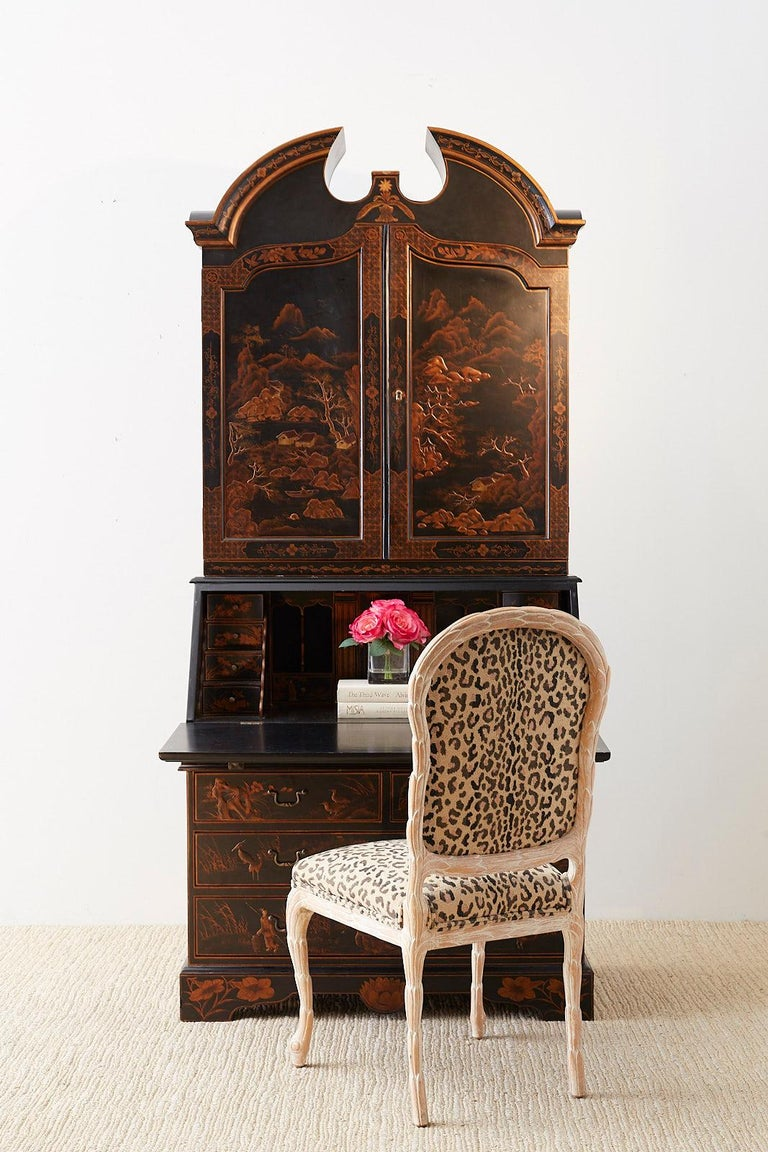 English Chinoiserie Style Lacquered Parcel-Gilt Secretary In Good Condition In Oakland, CA