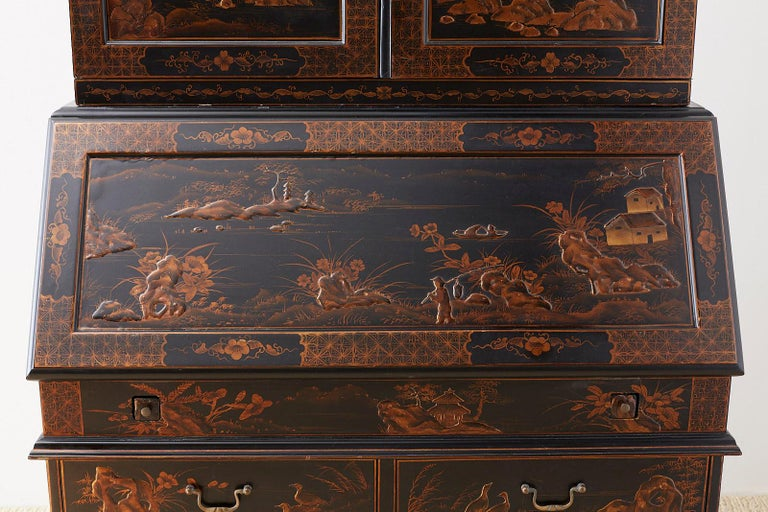 20th Century English Chinoiserie Style Lacquered Parcel-Gilt Secretary