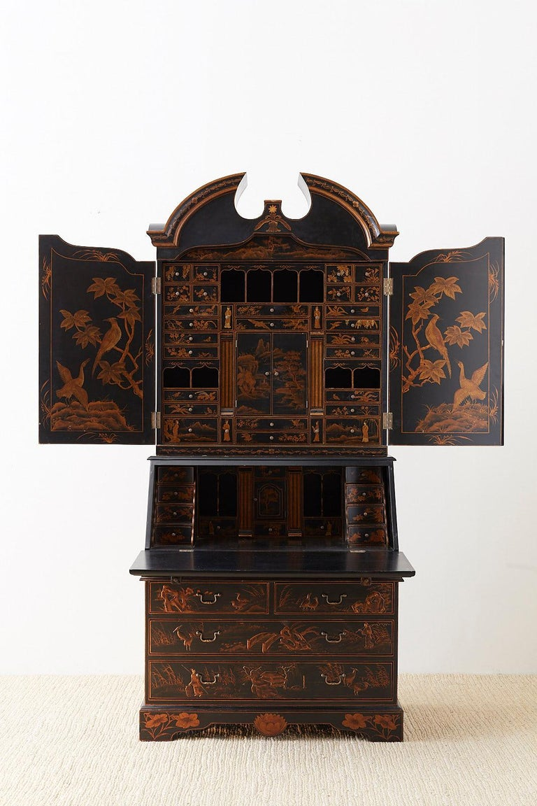 Brass English Chinoiserie Style Lacquered Parcel-Gilt Secretary For Sale