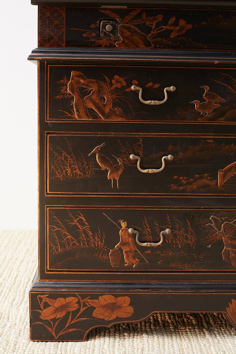 English Chinoiserie Style Lacquered Parcel-Gilt Secretary For Sale 1