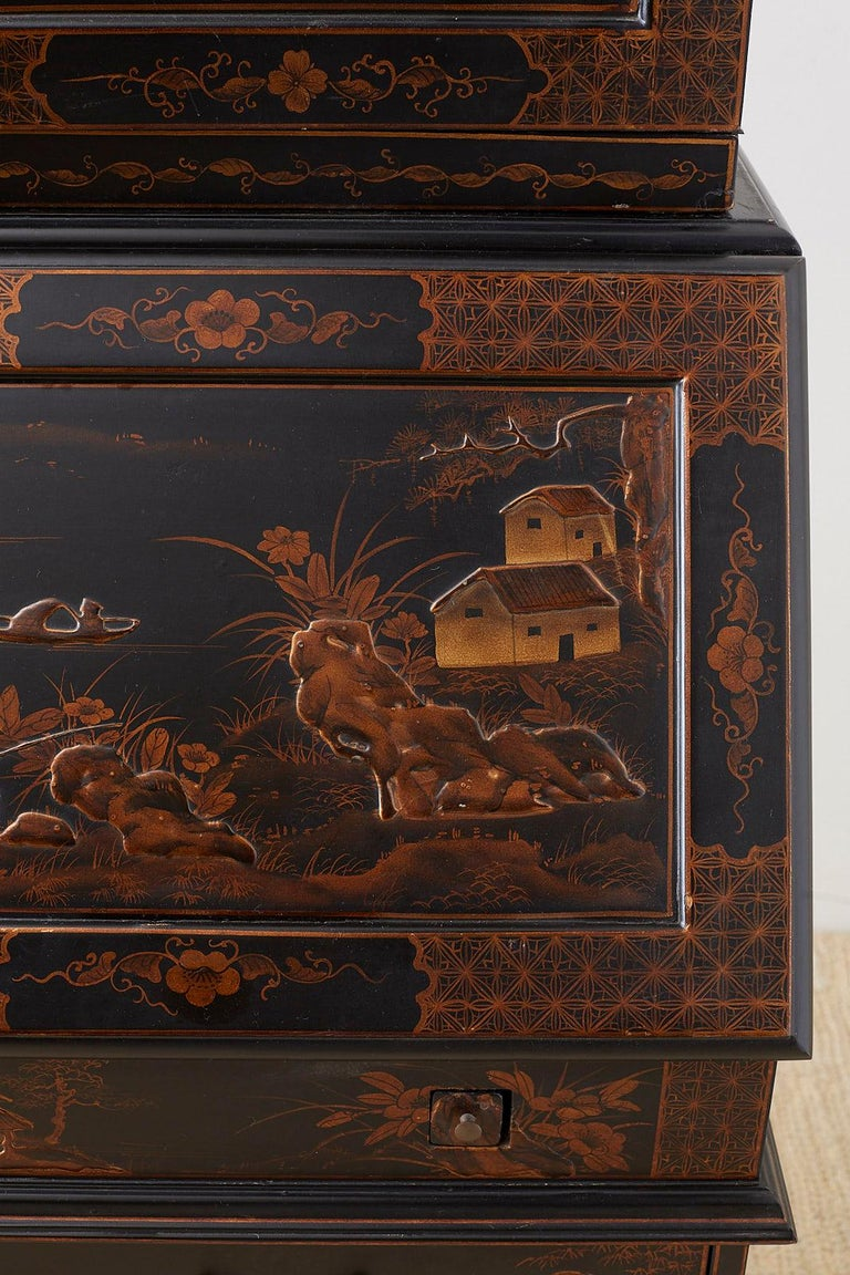 English Chinoiserie Style Lacquered Parcel-Gilt Secretary 2