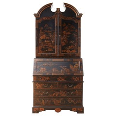 English Chinoiserie Style Lacquered Parcel-Gilt Secretary