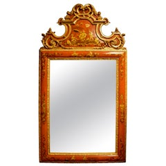 English Chinoiserie Style Orange Lacquered Mirror