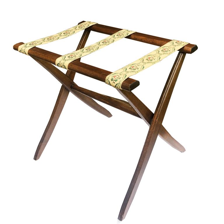 Chinoiserie English Chintz Floral Folding Stained Wood Luggage Rack or Tray Table  For Sale