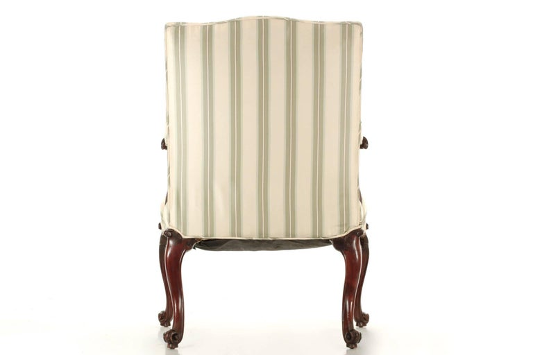 Fabric English Chippendale Antique Mahogany Lolling Armchair, 18th Century For Sale