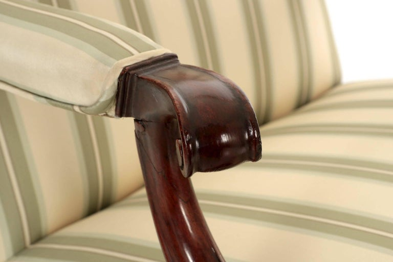 English Chippendale Antique Mahogany Lolling Armchair, 18th Century For Sale 4