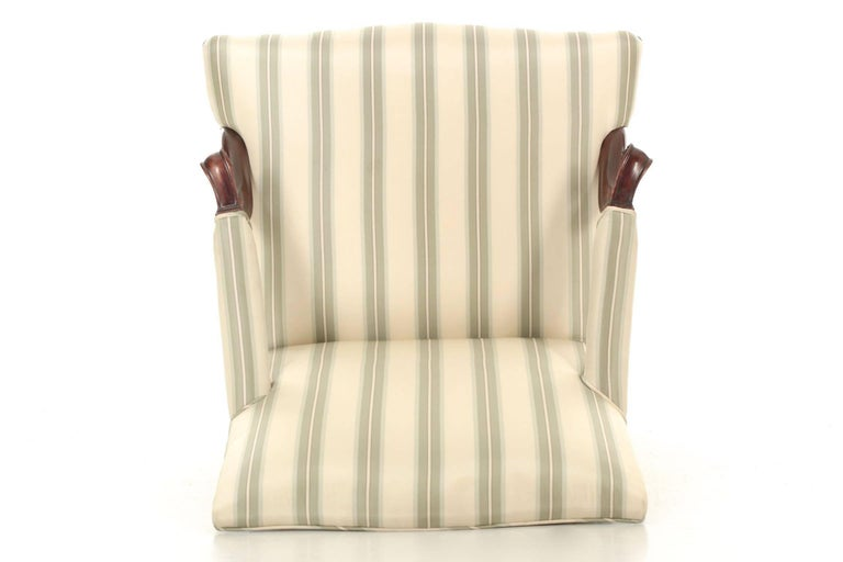 English Chippendale Antique Mahogany Lolling Armchair, 18th Century For Sale 5