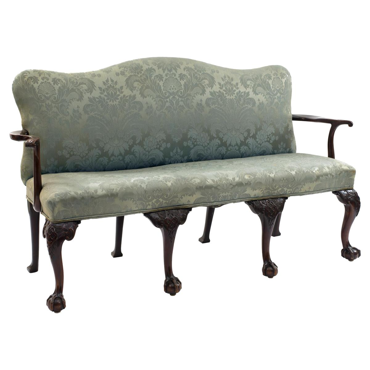 English Chippendale Blue Damask Settee