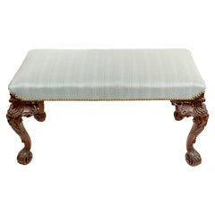 English Chippendale Blue Upholstery Bench