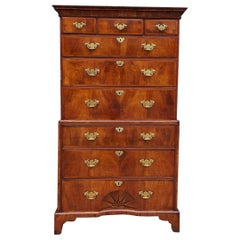 English Chippendale Walnut Chest on Chest with Satinwood Inlaid Star, Circa 1750