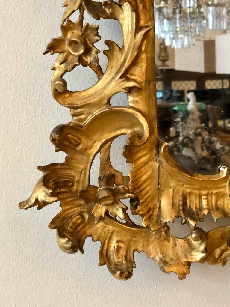 English Chippendale Carved Giltwood Mirror, 18th Century For Sale 8