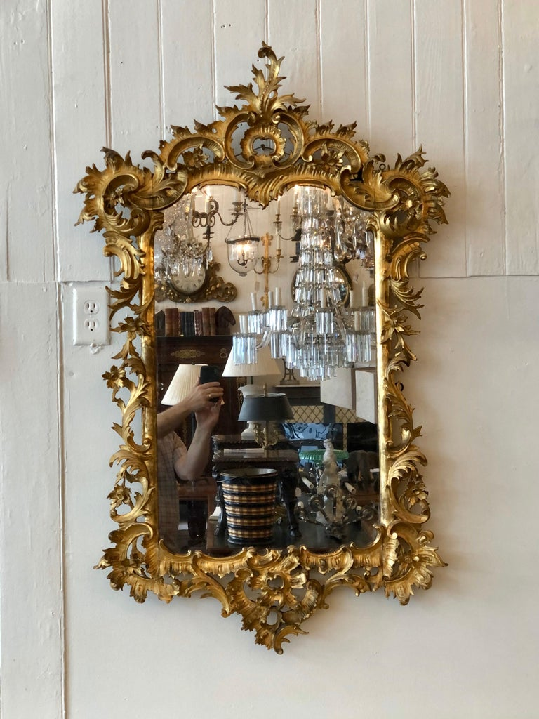 English Chippendale Carved Giltwood Mirror, 18th Century For Sale 10