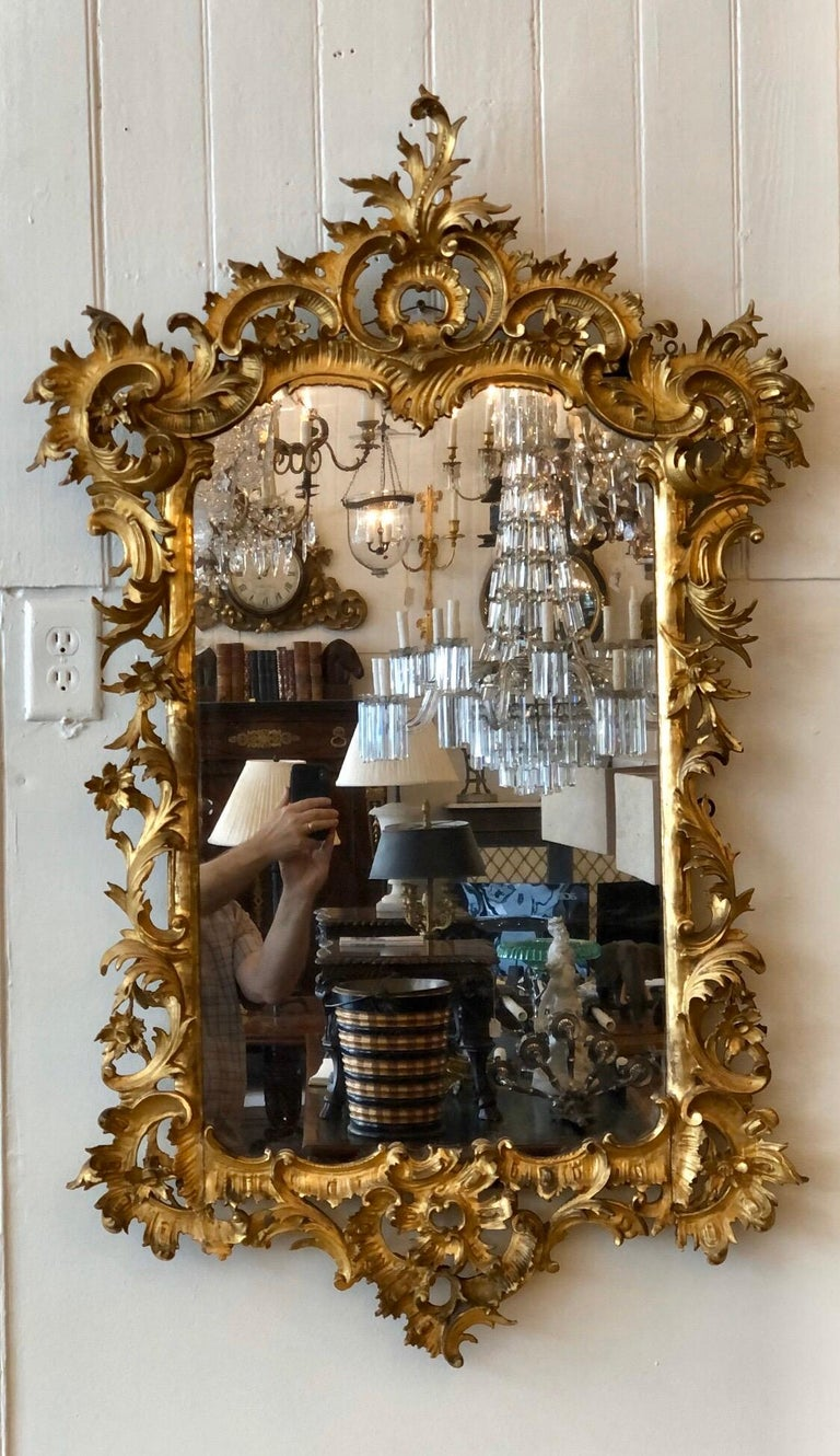English Chippendale Carved Giltwood Mirror, 18th Century For Sale 11
