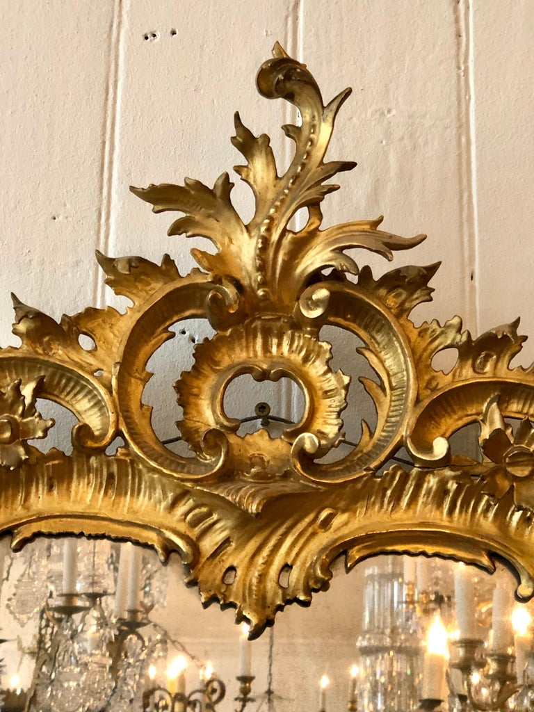 English Chippendale Carved Giltwood Mirror, 18th Century For Sale 1