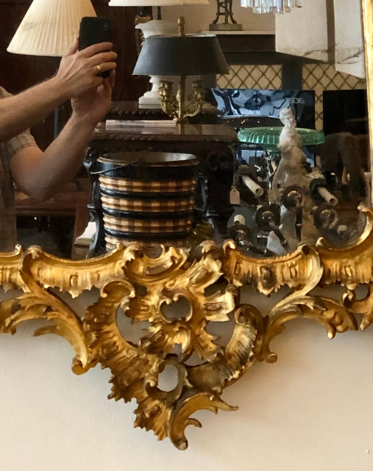 English Chippendale Carved Giltwood Mirror, 18th Century For Sale 2