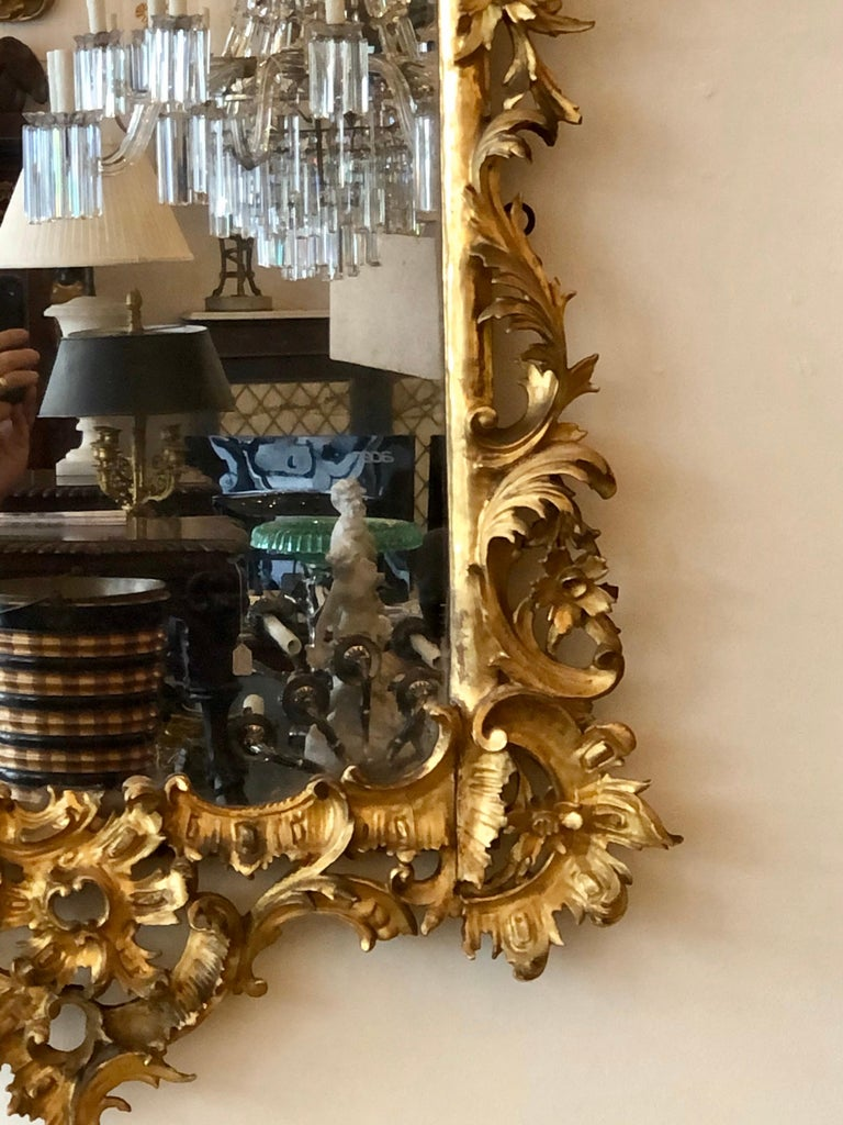 English Chippendale Carved Giltwood Mirror, 18th Century For Sale 3