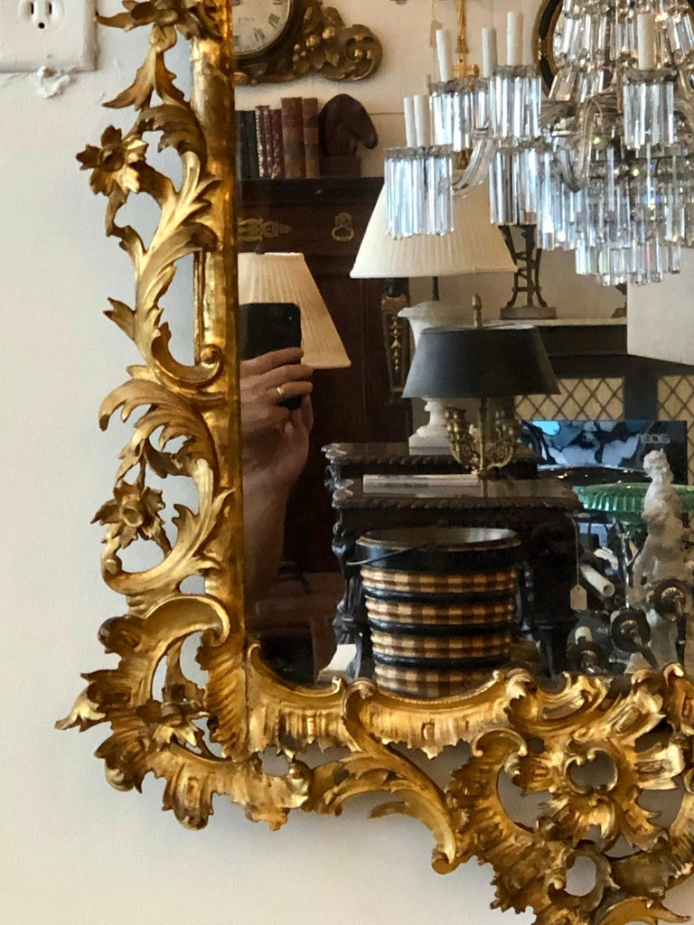 English Chippendale Carved Giltwood Mirror, 18th Century For Sale 6
