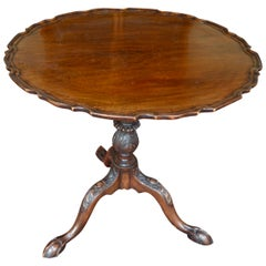 English Chippendale Georgian Pie Crust Tilt-Top Table