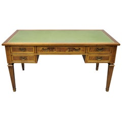 English Chippendale Green Leather Top Crotch Mahogany Executive Office Desk