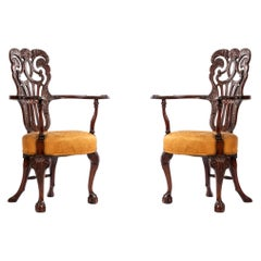 English Chippendale Mahogany Armchairs