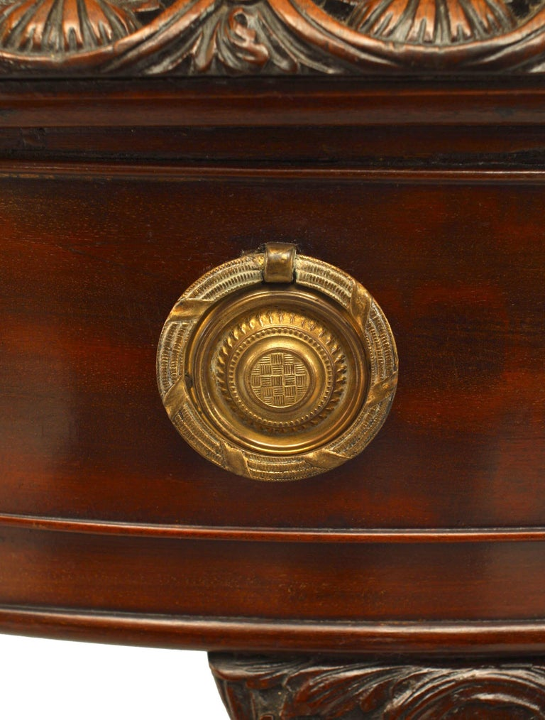 English Chippendale Mahogany Leather Center Table In Good Condition For Sale In New York, NY