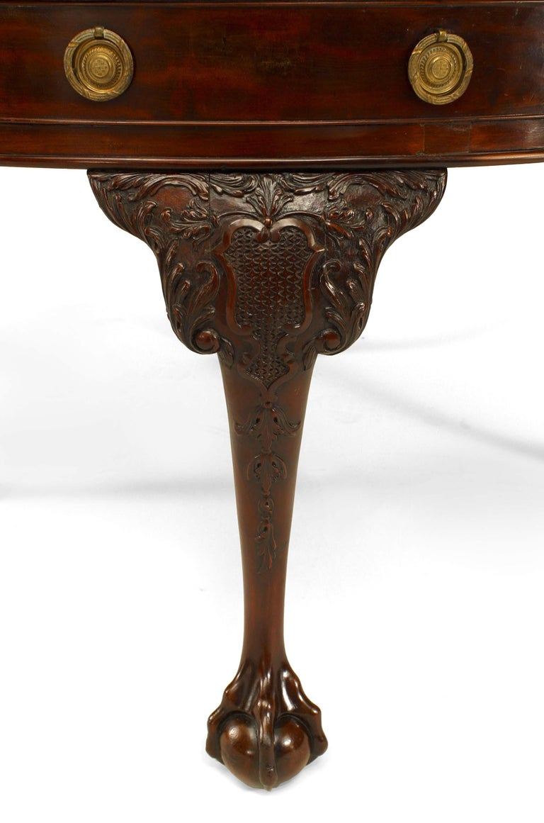 19th Century English Chippendale Mahogany Leather Center Table For Sale