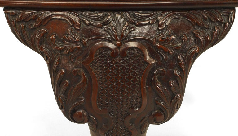 English Chippendale Mahogany Leather Center Table For Sale 1