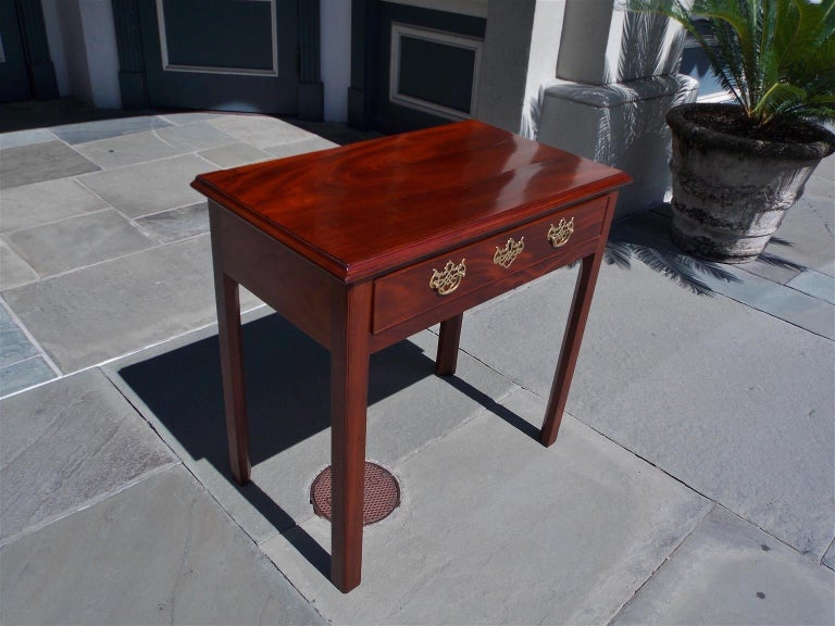 English Chippendale mahogany one-drawer side table with the original flanking and centered brasses, late 18th century.