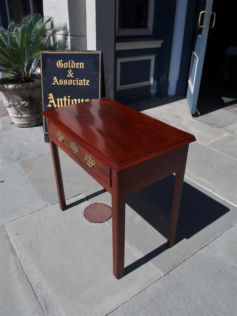 Hand-Carved English Chippendale Mahogany One-Drawer Side Table with Orig Brasses circa 1770 For Sale