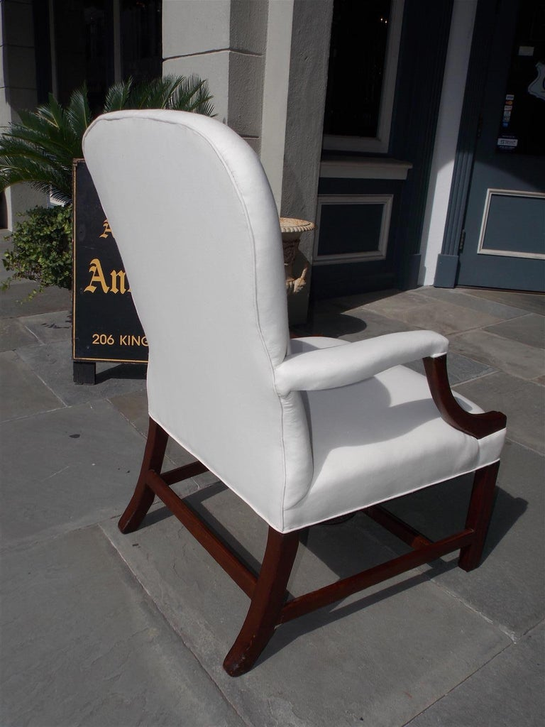 English Chippendale Mahogany Spoon Back Upholstered Library Armchair, Circa 1770 For Sale 6
