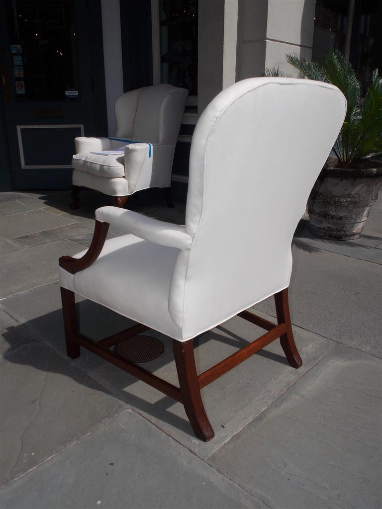 English Chippendale Mahogany Spoon Back Upholstered Library Armchair, Circa 1770 For Sale 5