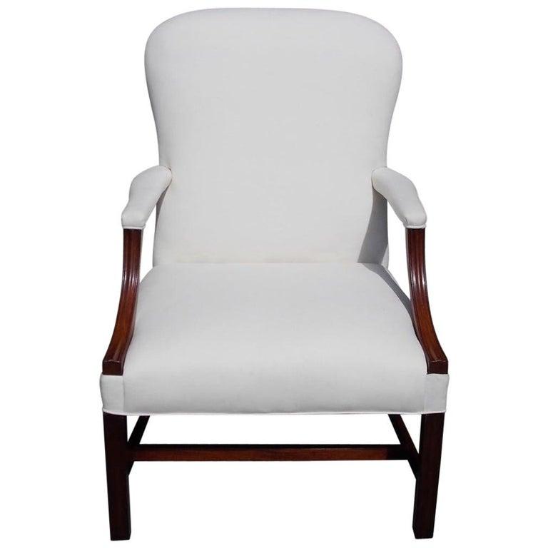 English Chippendale Mahogany Spoon Back Upholstered Library Armchair, Circa 1770 For Sale