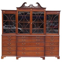 English Chippendale Mahogany Swan Neck Inlaid Breakfront with Desk, Circa 1770