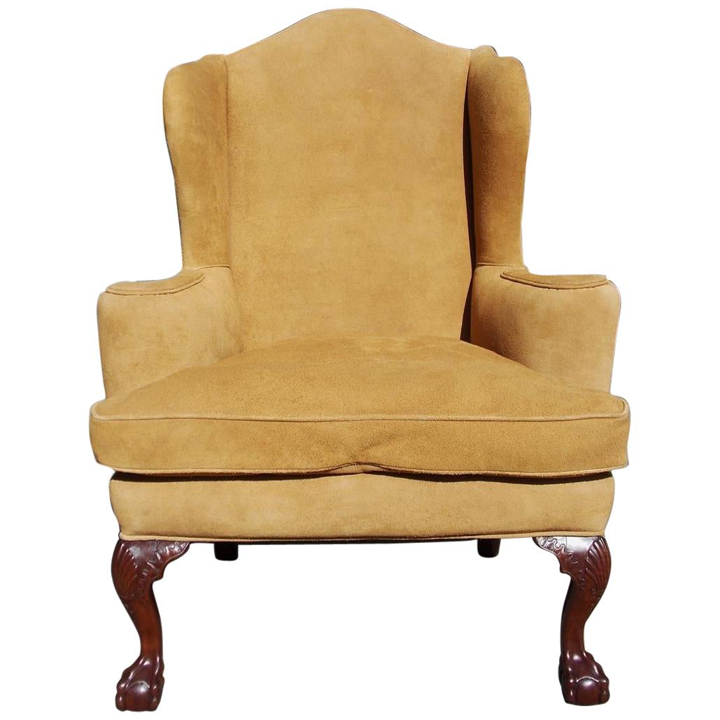 English Chippendale Mahogany Upholstered Ball & Claw Wing Back Chair, Circa 1780