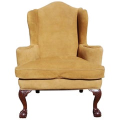 English Chippendale Mahogany Upholstered Ball & Claw Wingback Chair, circa 1780