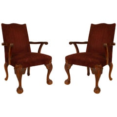 English Chippendale Maroon Armchairs