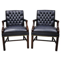 English Chippendale Paoli Inc Blue Tufted Faux Leather Vinyl Armchairs, a Pair