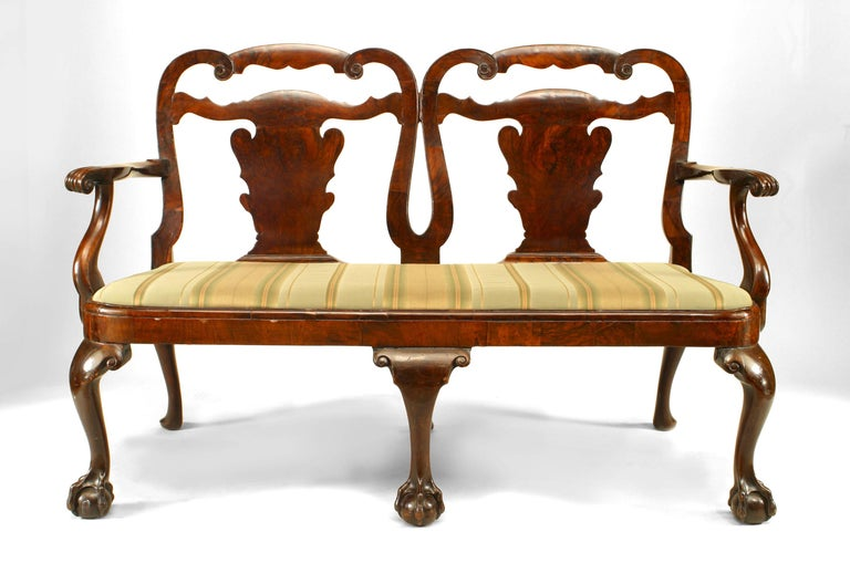 English Chippendale style (18-19th century) mahogany double chair back loveseat with splat design and velvet seat.
