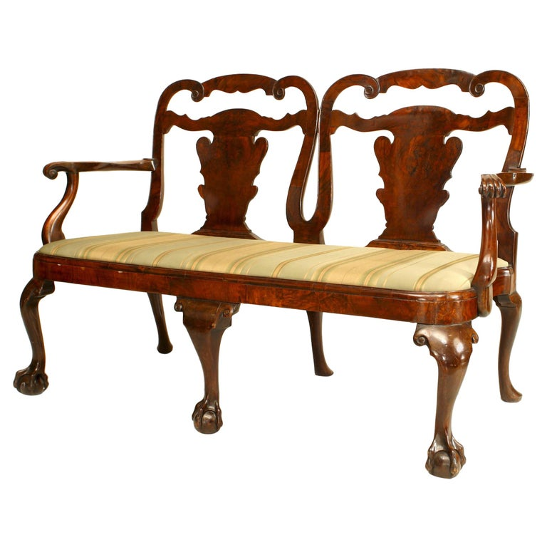 English Chippendale Style '18-19th Century' Double Chair Back Loveseat For Sale