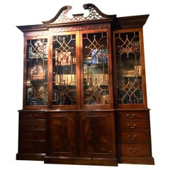English Chippendale Style Breakfront/Bookcase, Mahogany with Arched Pediment