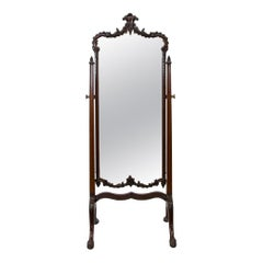 English Chippendale Style Carved Cheval Mirror