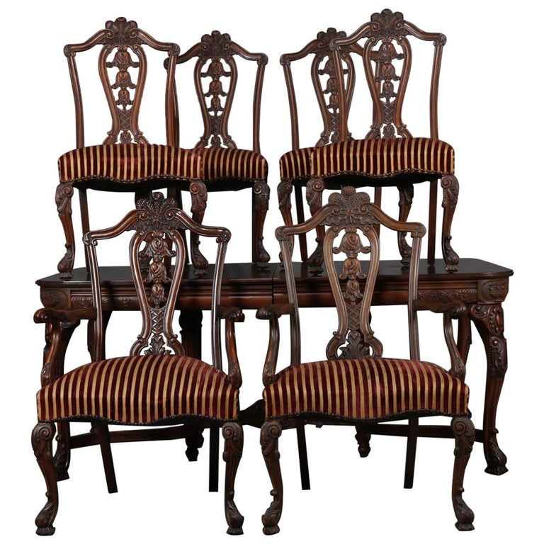 Dining Table 6 Chairs Sale: English Chippendale Style Carved Walnut Dining Table And 6