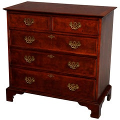 English Chippendale Style Flame Mahogany Chest of Drawers, 20th Century
